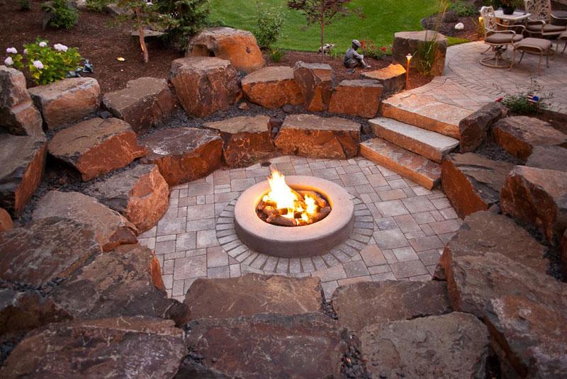 fire ring flagstone patio designs spokane coeur dalene backyard fire pit design construction