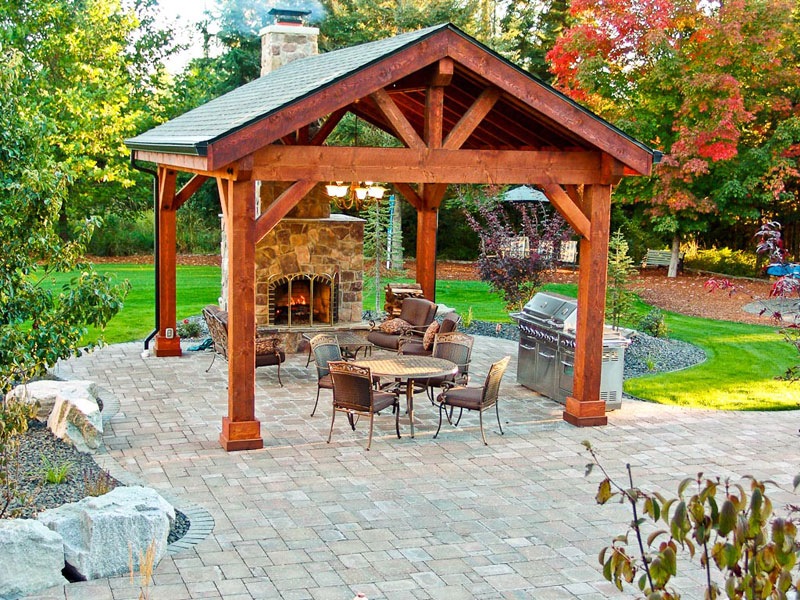 Covered patio pavilion design construction in spokane for Outdoor gazebo plans with fireplace