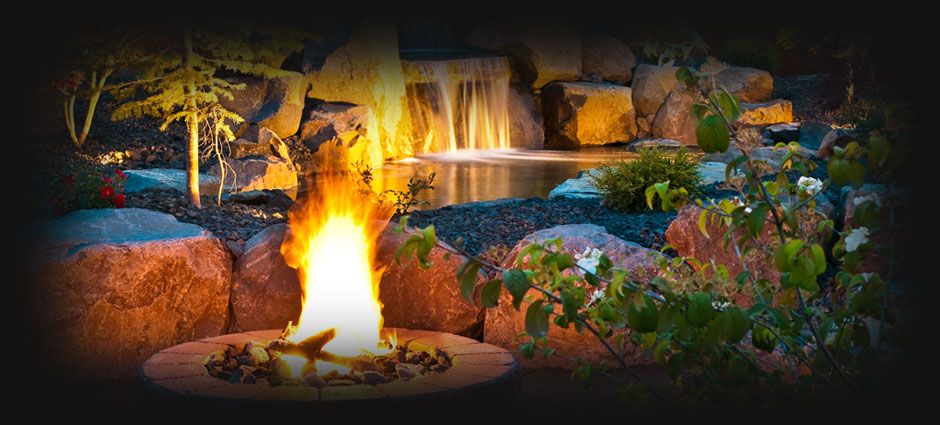 Water feature & Fire Pit by Legacy Landscapes, LLC
